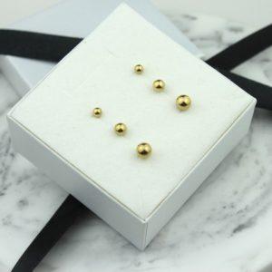 Kolczyki ze stali chirurgicznej – Złote Kolczyki Kulki