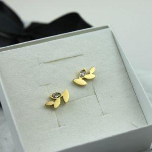 Kolczyki ze stali chirurgicznej – Złote Kolczyki Gałązki z Cyrkonią