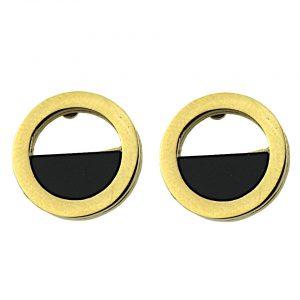 Kolczyki ze stali chirurgicznej – Złote Czarne Okrągłe Kolczyki