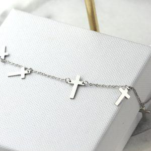 Srebrna Bransoletka Krzyże
