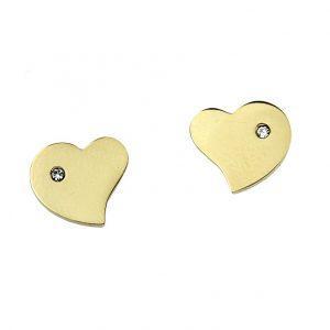 Kolczyki ze stali chirurgicznej – Złote Kolczyki Serca Z Cyrkonią