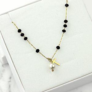 Naszyjnik ze stali chirurgicznej – Złoty Naszyjnik Krzyż Perła Cyrkonia