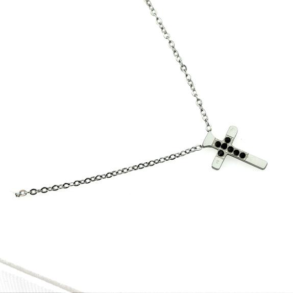 Naszyjnik Celebrytka ze stali chirurgicznej – Srebrny Naszyjnik Krzyż Ciemne Cyrkonie