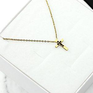 Naszyjnik Celebrytka ze stali chirurgicznej – Złoty Naszyjnik Krzyżyk Ciemne Cyrkonie