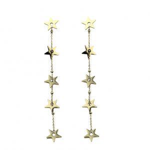 Kolczyki ze stali chirurgicznej - Złote Wiszące Kolczyki Gwiazdki