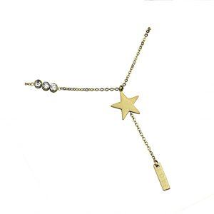 Naszyjnik ze stali chirurgicznej - Złoty Naszyjnik Gwiazdka LOVE