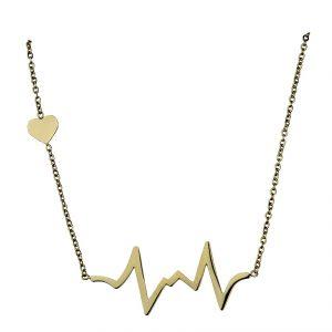 Naszyjnik Celebrytka ze stali chirurgicznej – Złoty Naszyjnik Linia Życia Serce