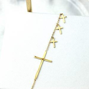 Bransoletka ze stali chirurgicznej - Złota Bransoletka Krzyże