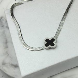 Naszyjnik ze stali chirurgicznej – Srebrny Naszyjnik Czarny Kwiatek