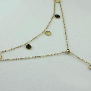Naszyjnik ze stali chirurgicznej - Złoty Podwójny Naszyjnik Z Sercem