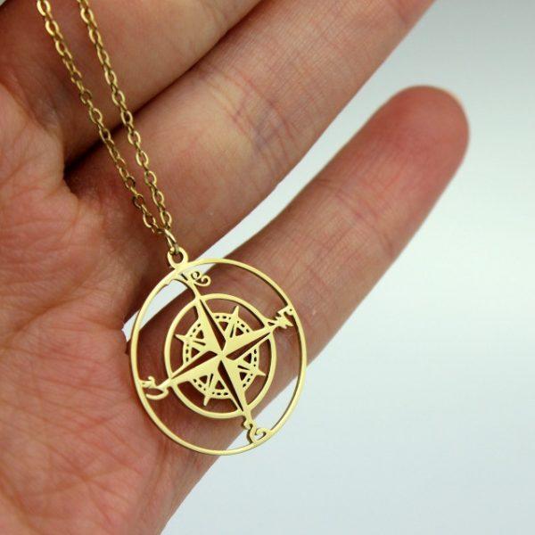 Naszyjnik ze stali chirurgicznej – Złoty Naszyjnik Kompas