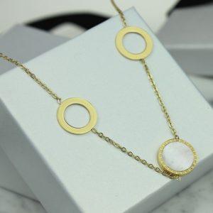 Naszyjnik ze stali chirurgicznej – Złoto Biały Naszyjnik Okręgi