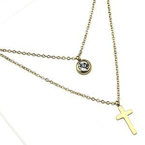 Naszyjnik Celebrytka ze stali chirurgicznej – Złoty Naszyjnik Cyrkonia Krzyż