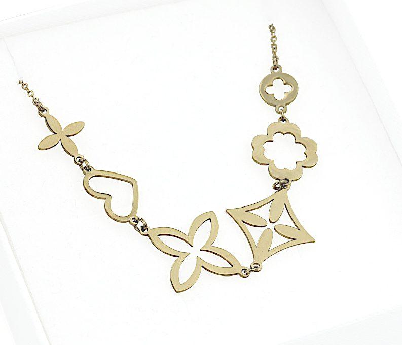 Naszyjnik ze stali chirurgicznej - Złoty Naszyjnik Kwiatki