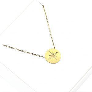 Naszyjnik Celebrytka ze stali chirurgicznej – Okrągły Złoty Naszyjnik Iskra