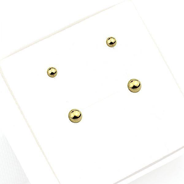 Kolczyki ze stali chirurgicznej – Złote Kolczyki Kulki - 2 pary