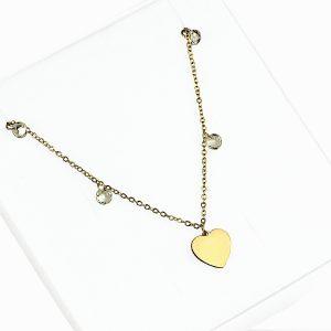 Naszyjnik ze stali chirurgicznej – Złoty Naszyjnik Serce Cyrkonie