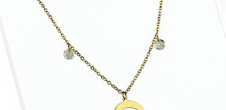 Naszyjnik ze stali chirurgicznej – Złoty Naszyjnik Księżyc Cyrkonie