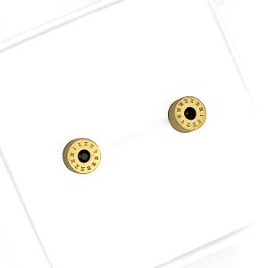 Kolczyki ze stali chirurgicznej – Złote Okrągłe Kolczyki Z Czarną Cyrkonią