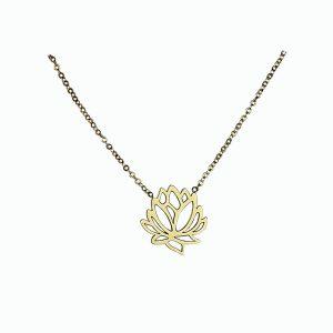 Naszyjnik Celebrytka ze stali chirurgicznej – Złoty Naszyjnik Kwiat Lotosu